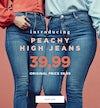 Peachy High jeans.Curved high waist and tight leg.