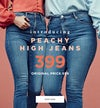 Peachy High jeans.Curved high waist and tight leg.
