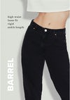 barrel high waist loose fit, rigid, ankle length