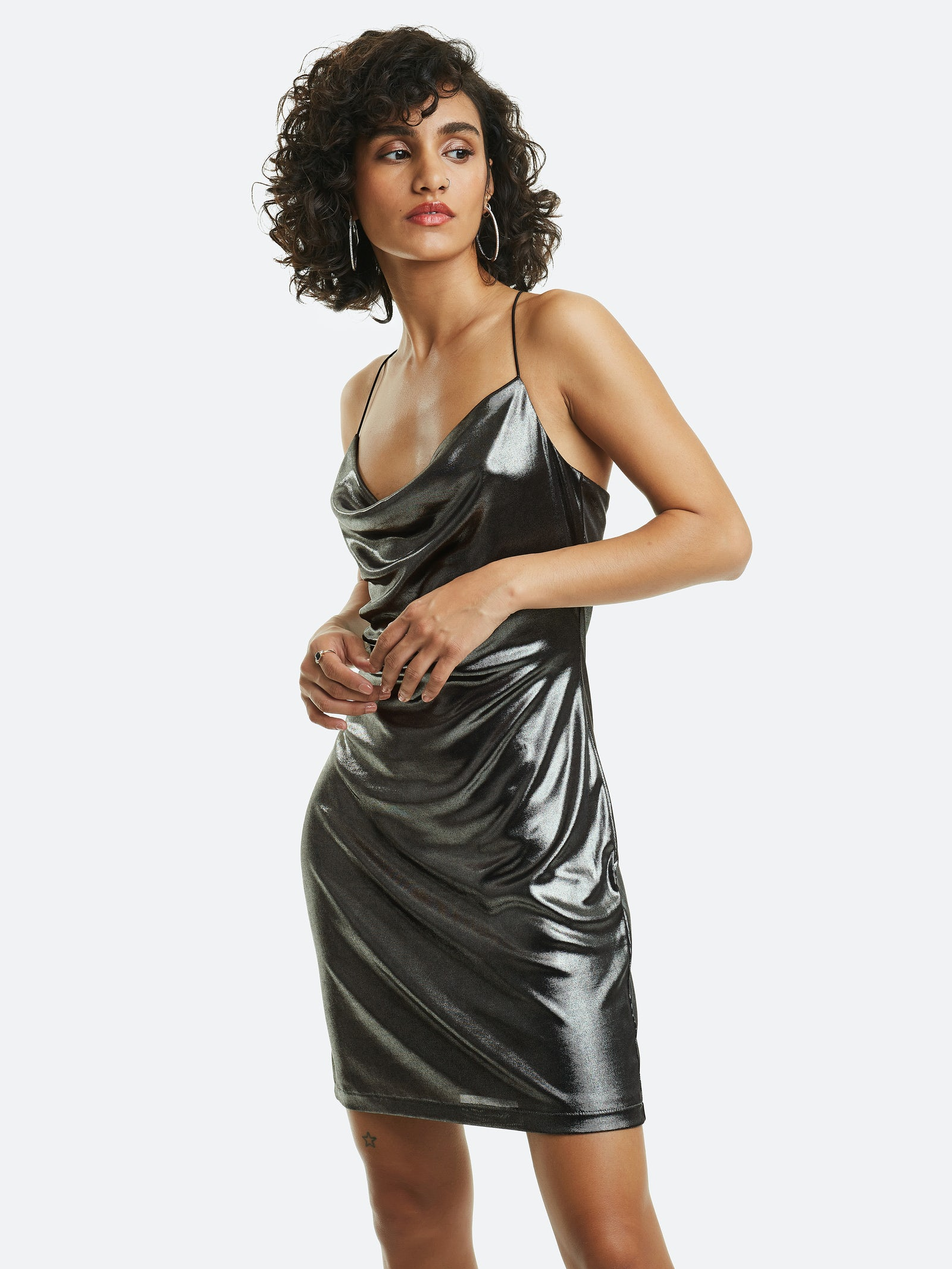 Satin slip dress with lining Care Instructions: Hand wash
